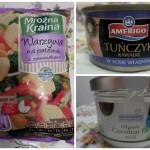 Składniki użyte do przygotowania dania: tuńczyk i mieszanka warzyw kupiona w Biedronce, olej kokosowy w sklepie ze zdrową żywnością
