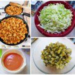 Kolejne etapy przygotowywania sałatki gyros
