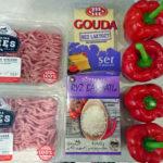 Składniki użyte do przygotowania papryki faszerowanej mięsem mielonym i ryżem